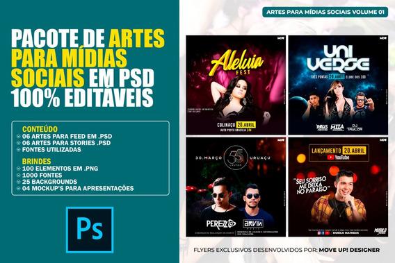 Pacote De Artes Para Mídias Sociais Em Psd 100% Editáveis