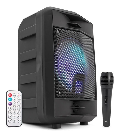 Caixa De Som Amplificada Bluetooth Com Microfone Led Mp3 Fm