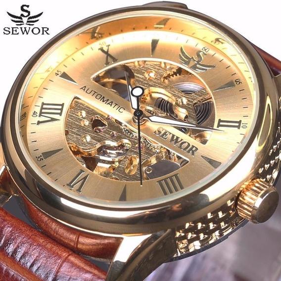 Relógio Original Sewor Automático Dourado Luxo
