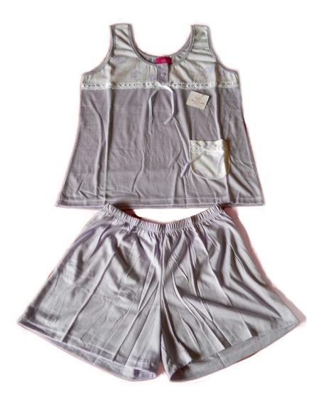 Pijama Verano Short Musculosa Con Bolsillo Violeta T. 1 S
