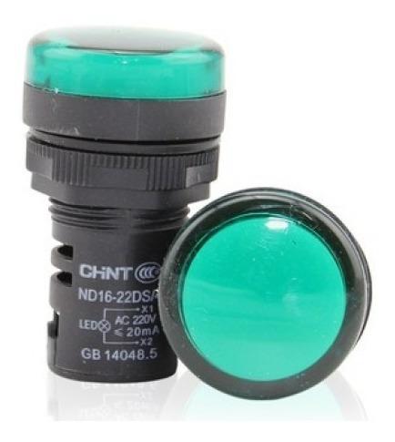 10un Led Chint Sinalizador 22mm Verde 220v