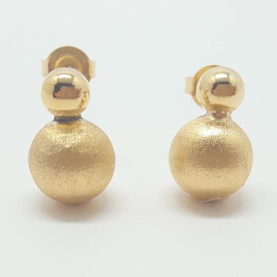 Brinco Dourado Médio Bolinha Fosca E Lisa