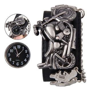 Espectacular Reloj Hombre Motoquero Rock Lujo