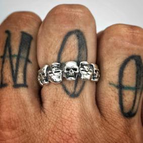 Anel De Caveira Masculino 12 Skulls Prata 925 Certificada