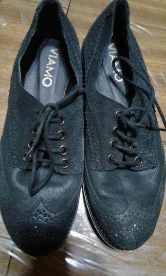 Zapatos Acordonados Gamuza Negra Talle 35 Marca Viamo