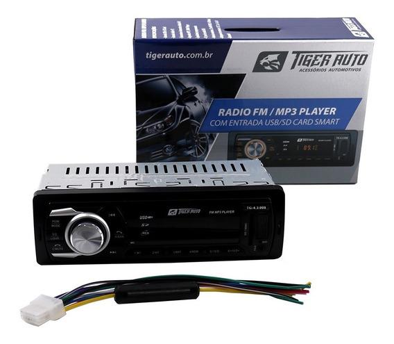 Som Automotivo Rádio Fm Mp3 Bluetooth Usb Sd 2rca Tiger Auto