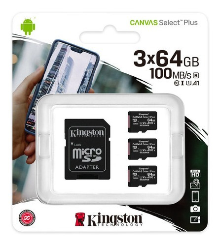 Cartão Microsd Canvas Select Plus 64gb Com 3 Cartões