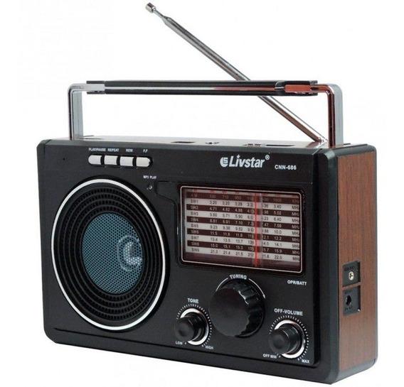 Radio Fm/am/sw1-9 Mp3 Usb Music Player Toca Bluetooth Cartão
