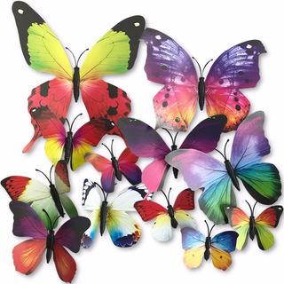 Set 12 Mariposas Multi Color Para Decoracion Con Iman H4087