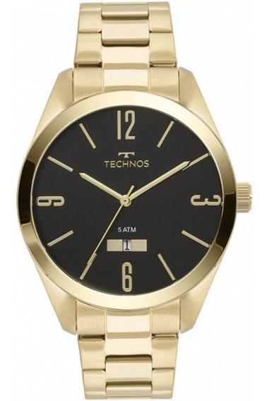 Relógio Masculino Technos Dourado Grande Analógico Com Data
