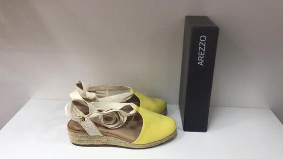 Sapato Salto Baixo Multimaterial Linho Trama - Arezzo