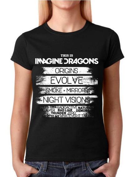 Camisa Baby Look Feminina - Imagine Dragons - 100% Algodão!