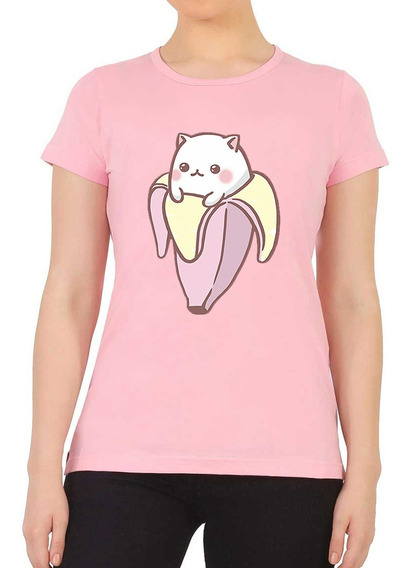 Playera Moda Unisex Kawaii Anime Cat Gatito Banana