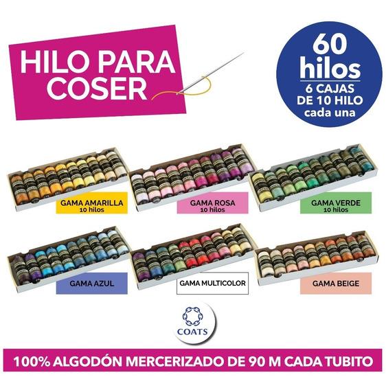 Hilos Para Coser 100% Algodón Coats - 6 Cajas De 10 Hilos -