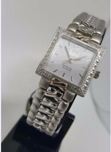 Relógio Feminino Quadrado Dumont Aço Com Brilhantes Dp26373b