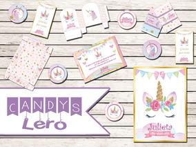 Kit Imprimible Unicornio Baby Shower Shabby Chic Candy Bar