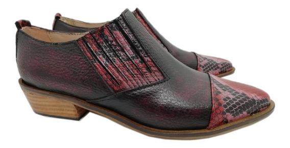 #aw19 Botitas Charritos Cuero Negro Bordo Zapatos Abryl