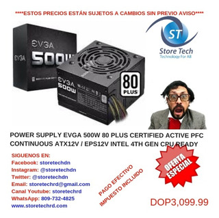 Power Supply Evga 500w 80 Plus Certified Active Pfc Continuo