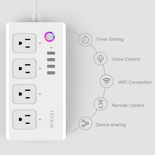 Regleta Inteligente Wifi Tuya Smart 4 Tomas + 4 Puertos Usb