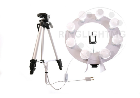 Ring Light Led 8 - 2 Em 1 + Tripe 1,30mts + Sup Cel + Brinde
