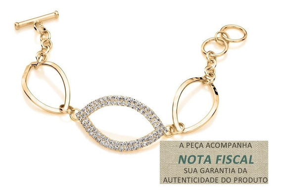 Pulseira 3 Navetes Vazadas, Sendo Ouro Rommanel 550766