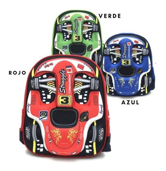 Mochila Infantil, Jardin, Niños. Autos Formula 1, Trendy.