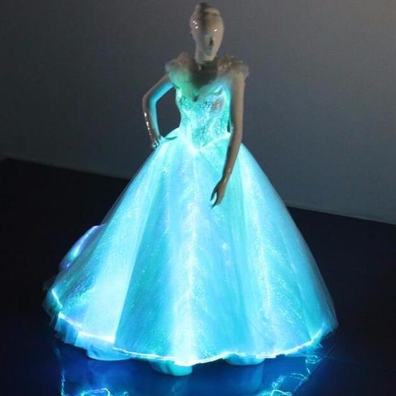 Vestido Xv Luz Led Luces Fibra Optica Celebracion Cumpleaños