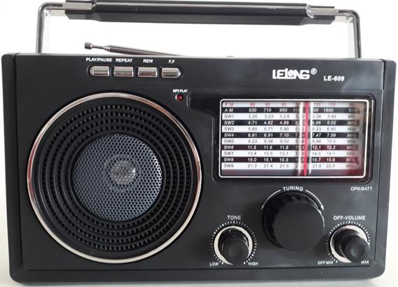 Radio Retro Usb Cartão Sd Am Fm Sw1-9 Energia Pilha Tomada