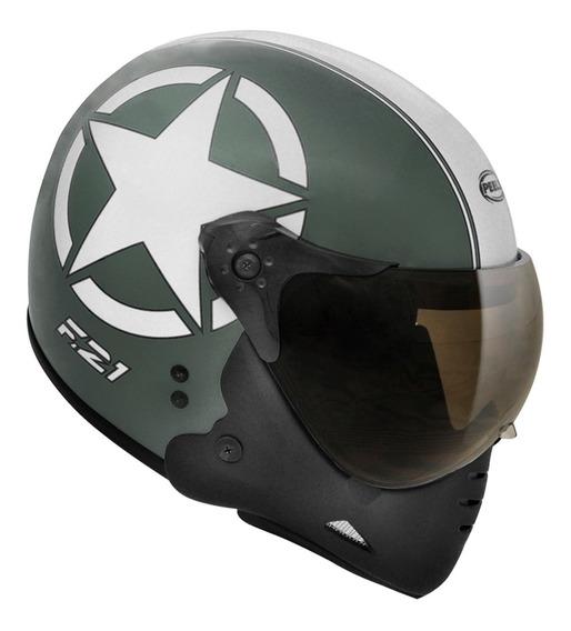 Capacete Peels F-21 Us Army Verde M Com Branco Tam 60