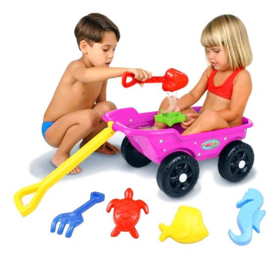 Carrinho De Mão Infantil Trolley Praia Rosa Menina - Kepler