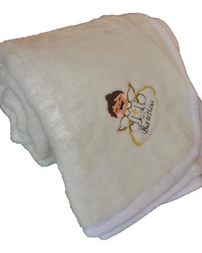 Imagen 1 de 6 de Cobertor Bautizo Bordado 1.40x1.10 Color Blanco Suavecito