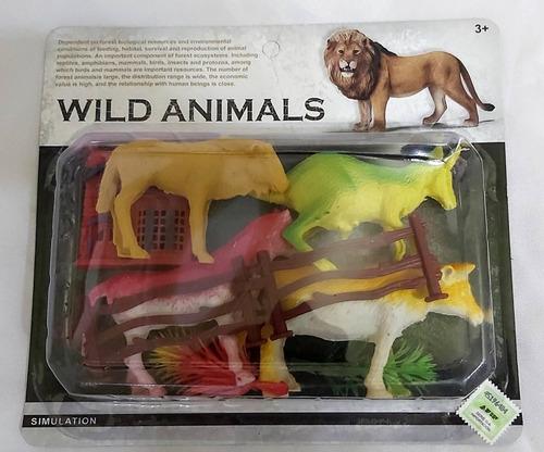 Imagen 1 de 2 de Set De 4 Animales ,canguro,bufalo,vaca,caballo