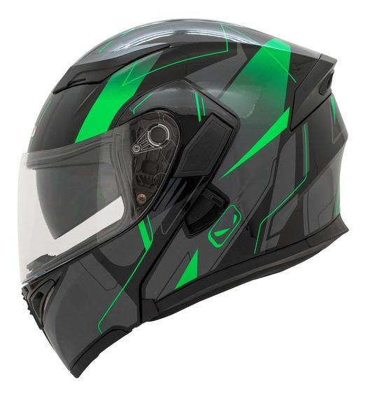 Casco Moto Abatible Hro 3400 Dv Blackstar Verde Certificado