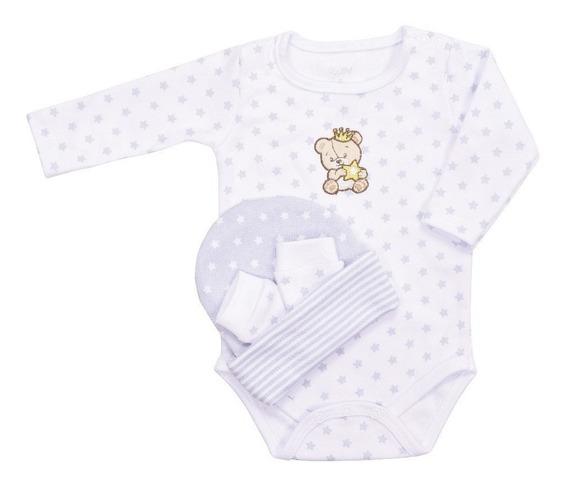 Kit Baby Colibri Com Body Touca E Luva Bebê Superstar Cinza
