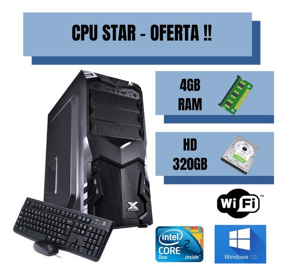 Cpu Core 2 Duo 4gb 320gb Win10 - Pronta P/ /uso - Brindes!