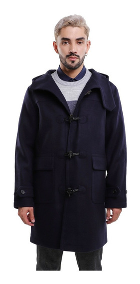Abrigo Hombre Grueso Tipo Tenka Color Azul Con Capucha Lob