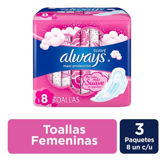 Toallitas Always Suave Maxi Protección 8 Unidades - Pack X3