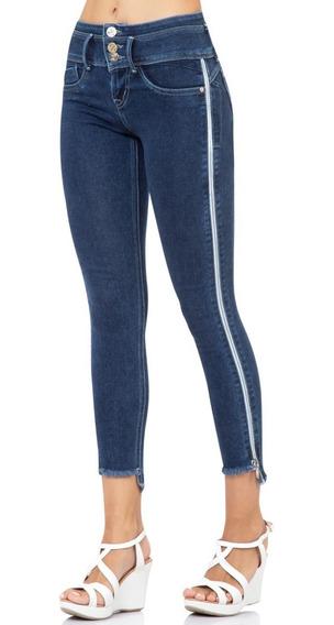 Jeans Entubado Cierres Costados Pretina Ancha 3 Botones Std