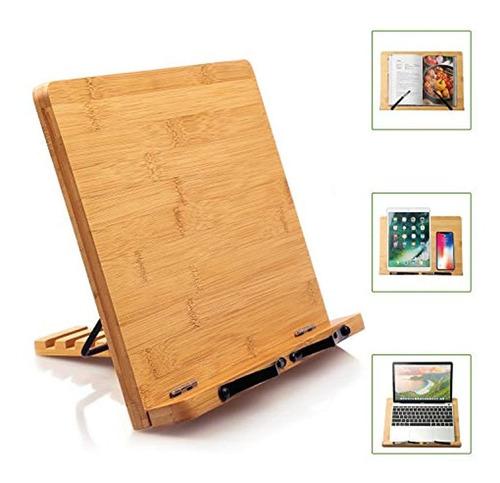 Pipishell - Soporte De Bambú Para Libros De Cocina, Escritor