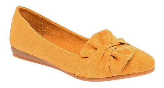 Zapato Piso Clasben Amarillo Sint Mujer Moño C34309 Udt