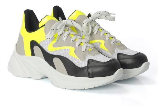 Tênis Dad Sneakers Com Cadarço Cano Baixo Neon Dia A Dia