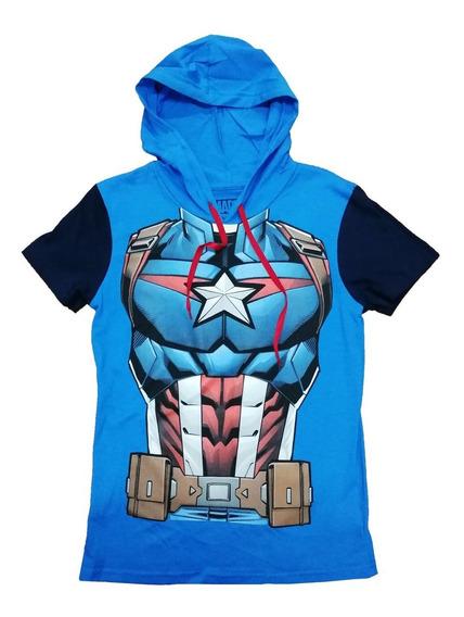 Playera Oficial Marvel Capitán América Con Capucha Para Niño