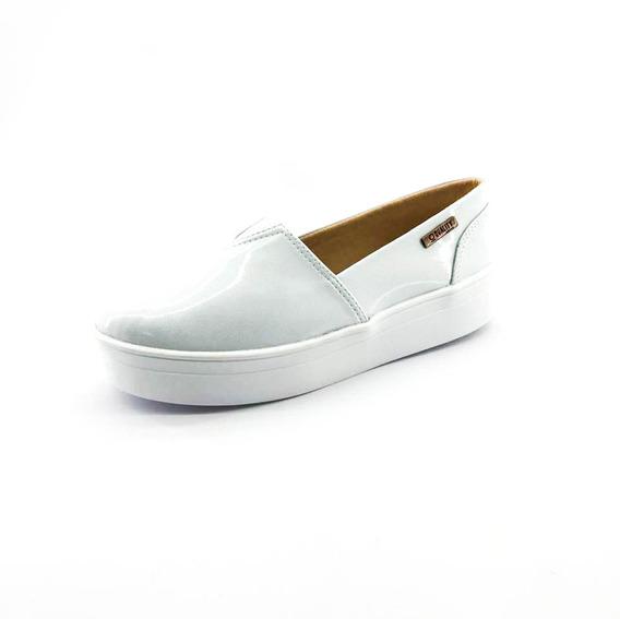 Tênis Flatform Quality Shoes Feminino 003 Verniz Branco Gelo