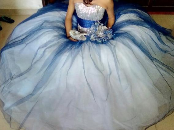 Vestido De Xv Años Azul Rey Con Plata