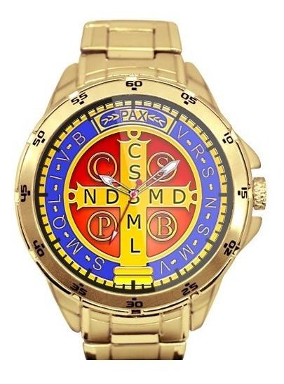 Medalha De São Bento Relógio Personalizado Dourado 5776