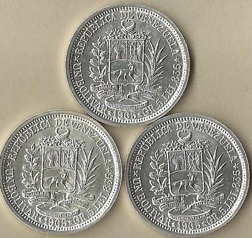 Excelentes Monedas De Plata Ley 835. Venezuela
