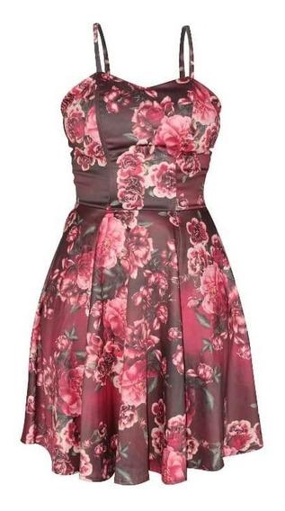 Vestido De Alças Com Estampa Floral Knt