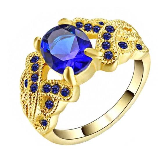 Anel Banhado Ouro Feminino Pedra Cristal Safira Azul 713 I