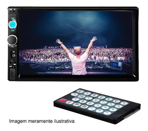 Dvd 2 Din Multimidia Bluetooth Usb Sd Tela 7 Hd + Câmera Ré