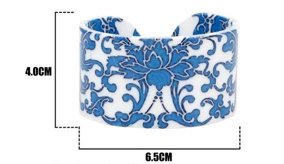 Pulsera Acrilico Diseños Color Azul